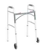 Two-Button Deluxe Folding Walker with 5 Inch wheels
